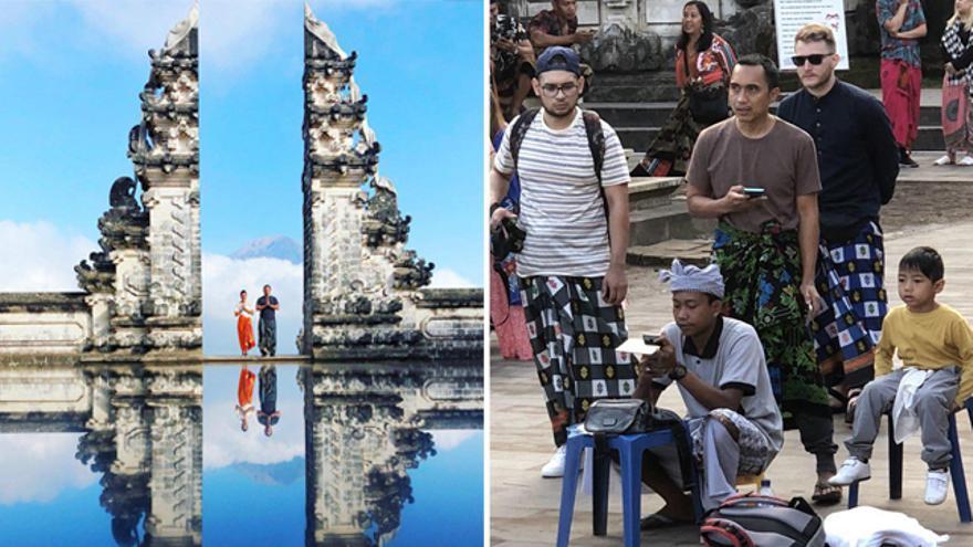 A la izquierda: una foto en Pura Lempuyang en Bali (Indonesia). A la derecha: el 'truco' para que aparezca el reflejo
