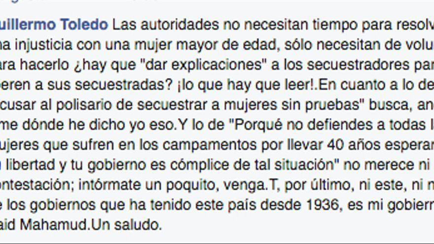Captura de pantalla de la polémica de Willy Toledo