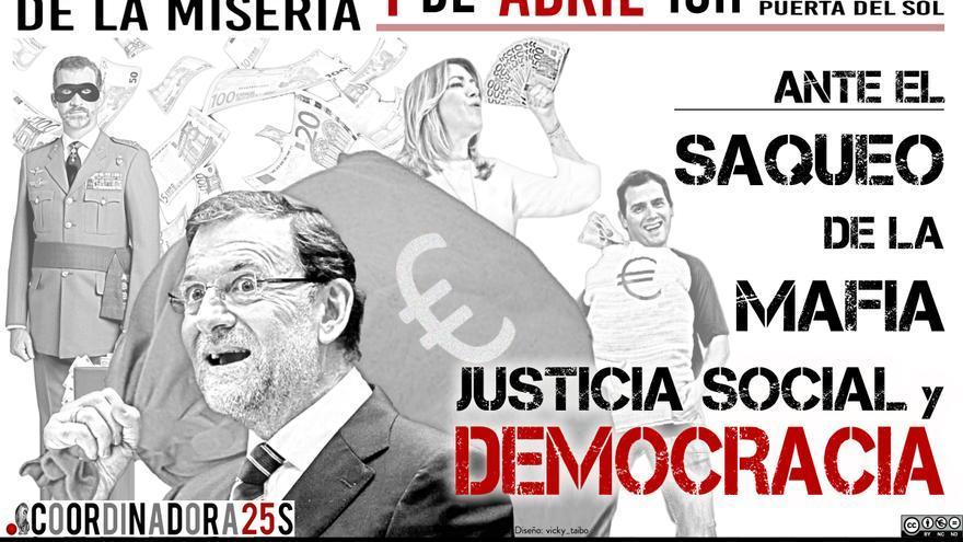 Cartel de la manifestación del 1 de abril contra los Presupuestos.