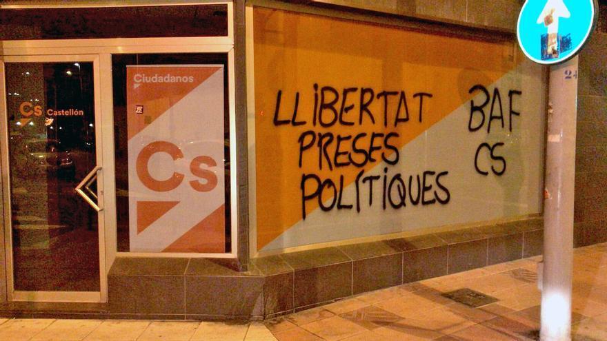 Pintadas en la sede de Ciudadanos en Castellón