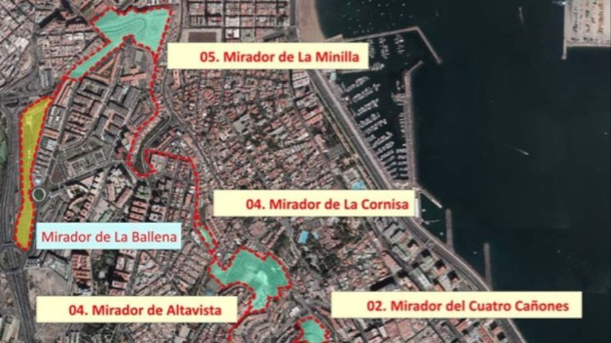 En el proyecto inicial de red de miradores de Las Palmas de Gran Canaria no se encontraba el de Las Baterías de San Juan, que se incluyó posteriormente.
