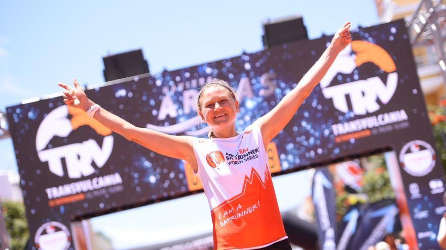 Ida Nilsson, vencedora de la Transvulcania 2018,  logró su tercer triunfo consecutivo.