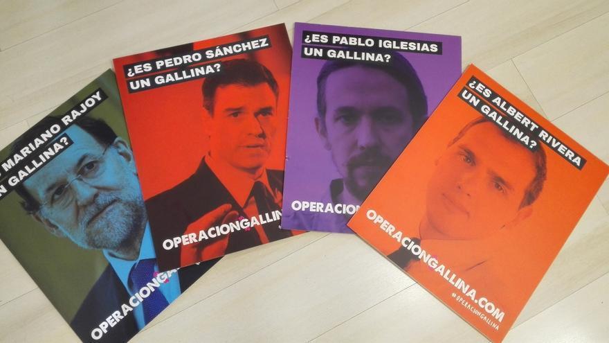 UPyD se disfraza de gallina para seguir a Rajoy, Sánchez, Rivera e Iglesias y denunciar su exclusión de los debates