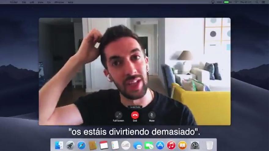 David Broncano, durante su videollamada con Jordi Évole