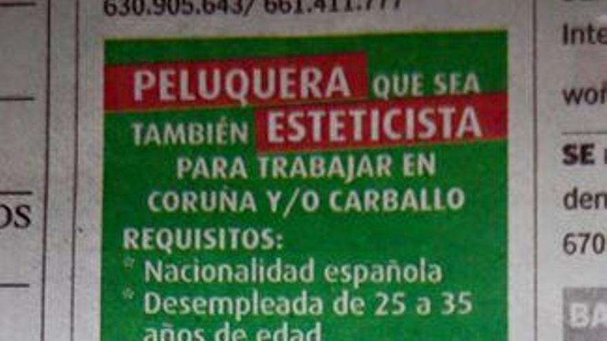 El anuncio publicado en La Voz de Galicia