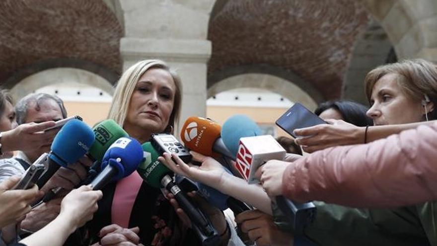 Cristina Cifuentes, en la Casa de Correos, donde rechazó instalar una placa en memoria de los represaliados por el franquismo