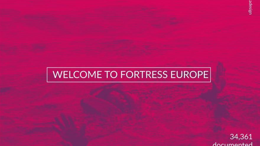 """""""Bienvenido a la Europa fortaleza"""". Postal de Darío Carta"""