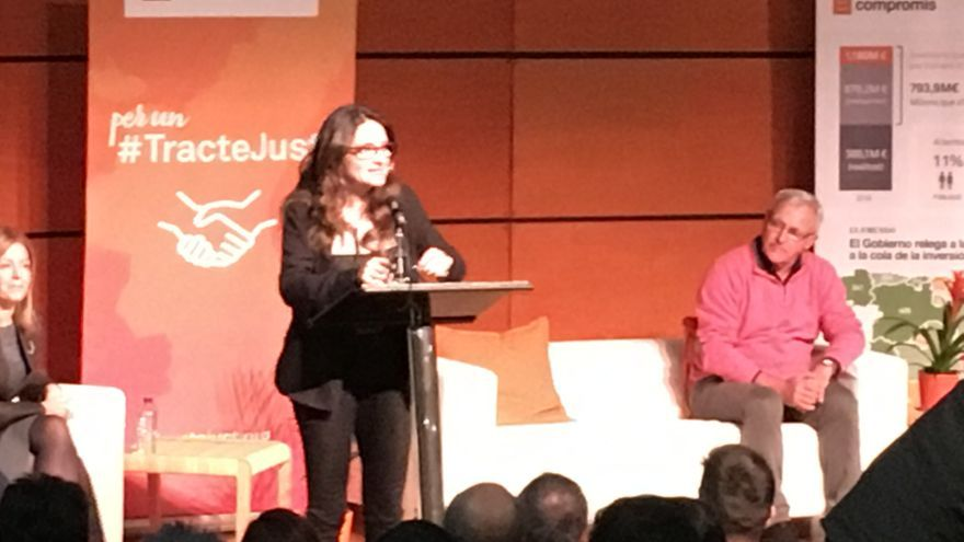 Mónica Oltra y Joan Ribó en el acto de Compromís por la financiación autonómica.