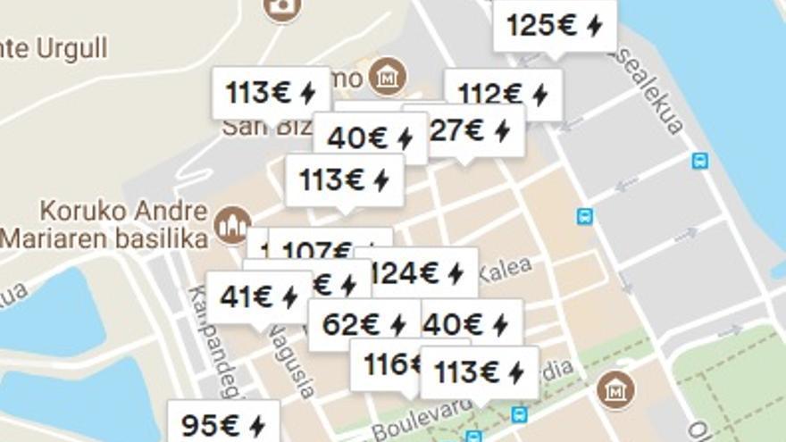 Mapa de los alquileres en la Parte Vieja de Donostia
