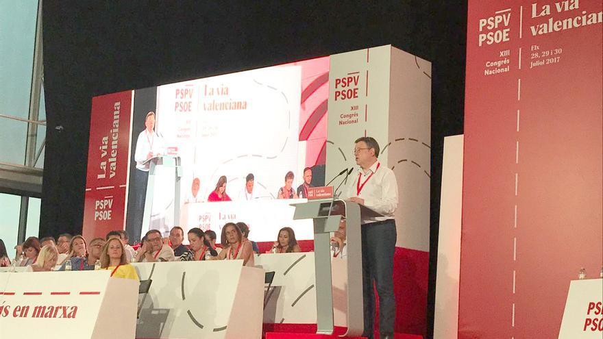 El líder de los socialistas valencianos, Ximo Puig, interviene en el XIII Congreso Nacional del PSPV en Elche