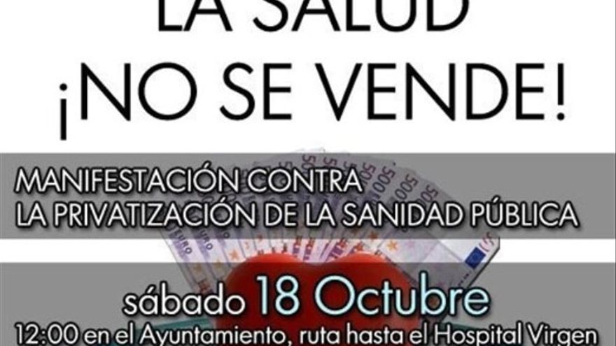 Cartel manifestación sanidad publica en Toledo, 18/10/14