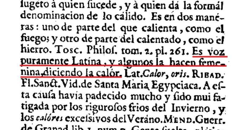 """Entrada de """"calor"""" en el Diccionario de Autoridades de la Academia extraída del Nuevo Tesoro Lexicográfico de la Lengua Española (NTLLE)."""