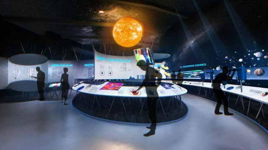 Recreación de la sala 'Explorando el Universo' del Centro de Visitantes del Roque de Los Muchachos.
