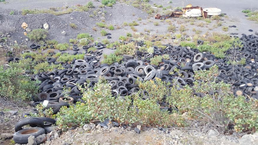 Estado en el que se encontraba una parte del solar municipal afectado por el vertido incontrolado de neumáticos.
