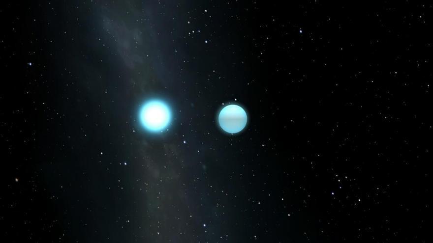 Recreació artística del sistema binario eclipsante estudiado con la cámara HiPERCAM del Gran Telescopio Canarias (GTC). Crédito: Universidad de Sheffield