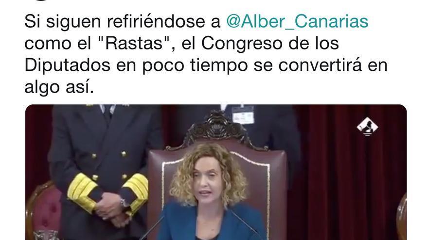 Tuit de Abubukaka con el vídeo de 15 segundos en defensa del diputado de Podemos Alberto Rodríguez.