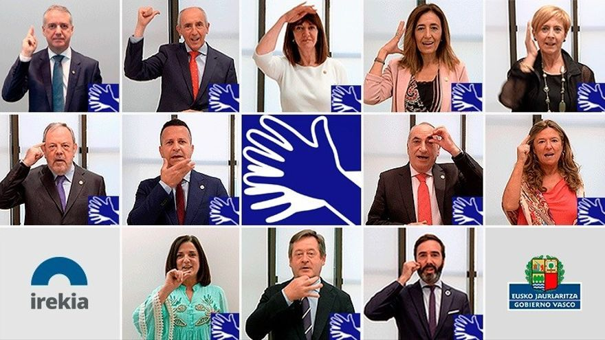 Imagen de los integrantes del Gobierno Vasco mostrando sus nombres en lengua de signos