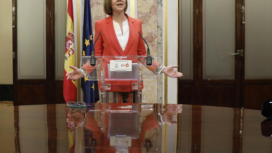 La secretaria general de PP, María Dolores de Cospedal, en su comparecencia ante los medios
