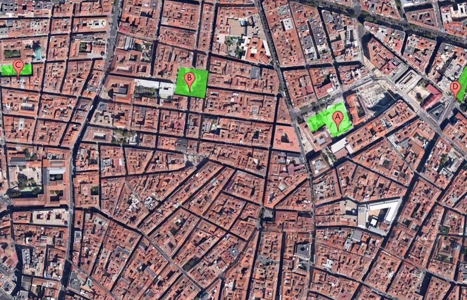 Mapa elaborado por la plataforma Vecinos Haciendo Jardines en el que marcan las escasas zonas verdes que hay en el área