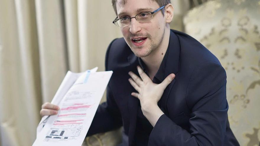 Edward Snowden en una entrevista con la agencia japonesa Kyodo en Moscú en mayo de 2017.