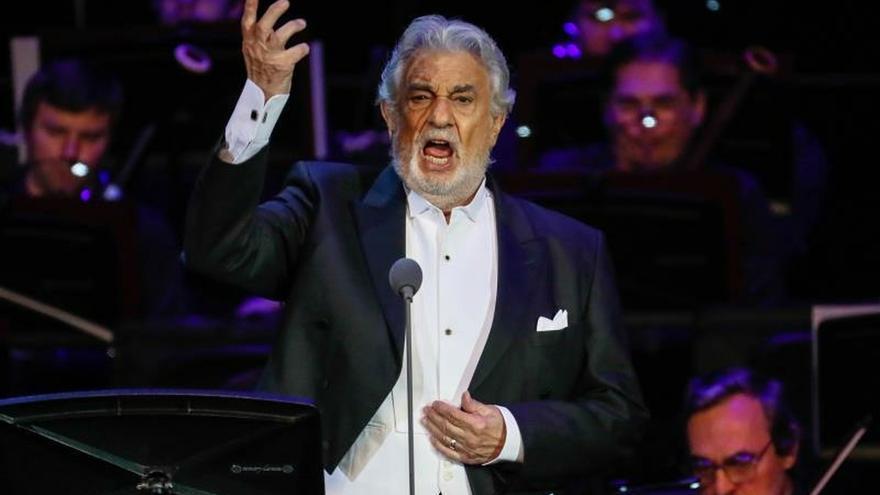 El tenor Plácido Domingo durante una actuación.