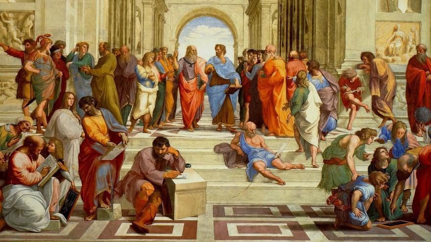 La Escuela de Atenas de Rafael Sancio, Museos Vaticanos, Roma.