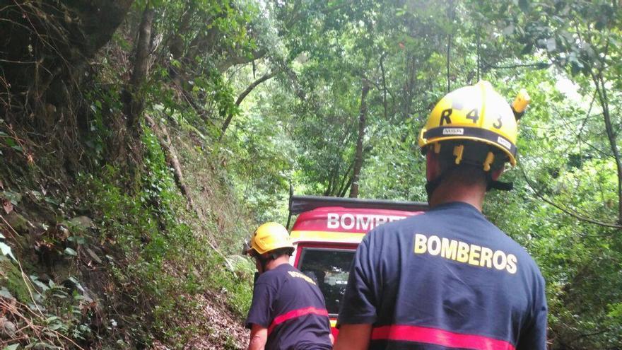 En la imagen, rescate de la senderista este martes. Foto: BOMBEROS LA PALMA.