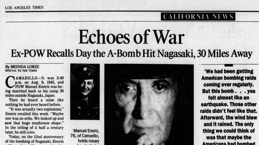 Recorte de la entrevista a Eneriz en Los Angeles Times el 9 de agosto de 1997.