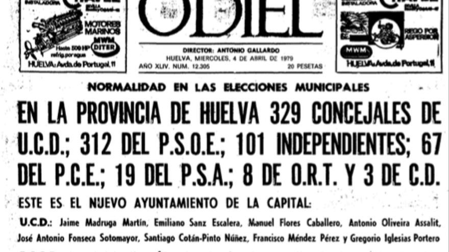Portada del diario Odiel del 4 de abril de 1979, que recogía los resultados de la provincia.