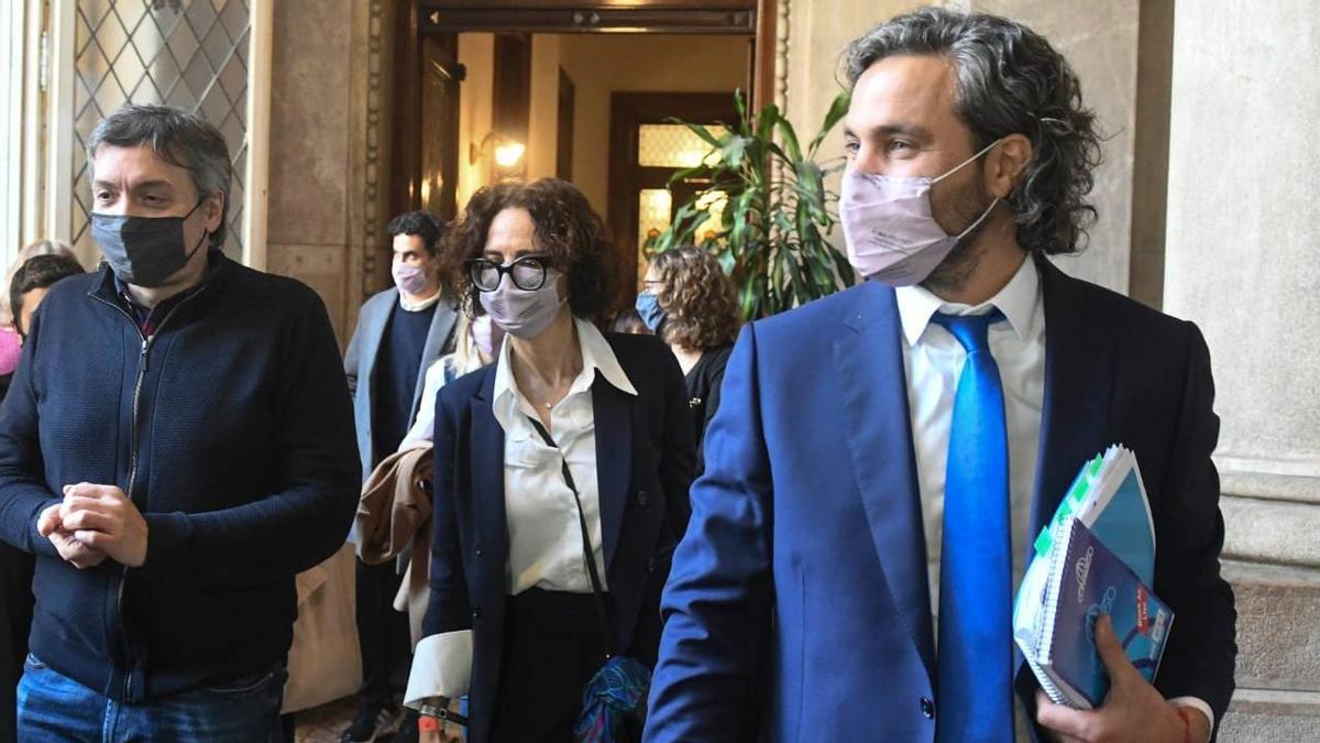 Máximo Kirchner, Cecilia Todesca y Santiago Cafiero