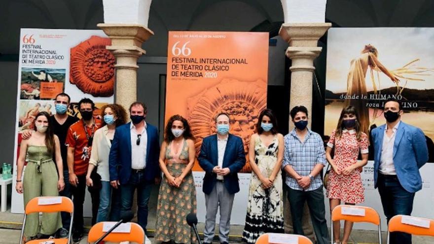 Presentación de la obra 'Antígona', de la compañía extremeña El Desván Producciones, que inaugura la 66 edición del Festival Internacional de Teatro Clásico de Mérida y que se representará del 22 al 26 de julio