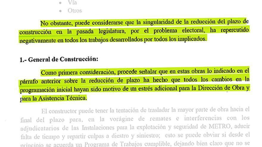 Extracto del informe fin de obra de la ampliación de la línea 7 de Metro de Madrid.