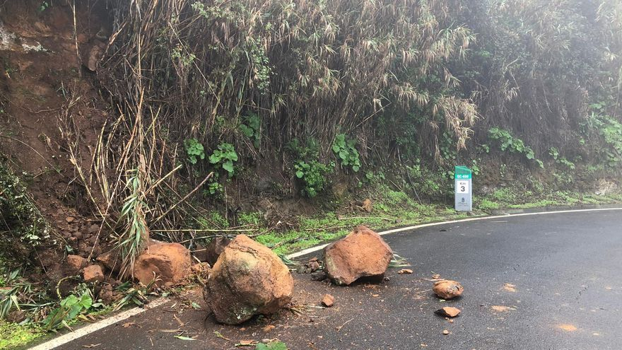 Desprendimientos en la zona de Ariñez, en Gran Canaria.