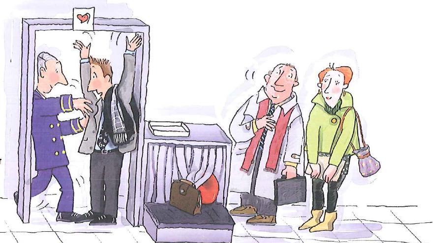Los arcos de seguridad pitan al pasar el diputado joven / Ilustración de Roser Capdevila para 'Conociendo el Congreso de los Diputados'