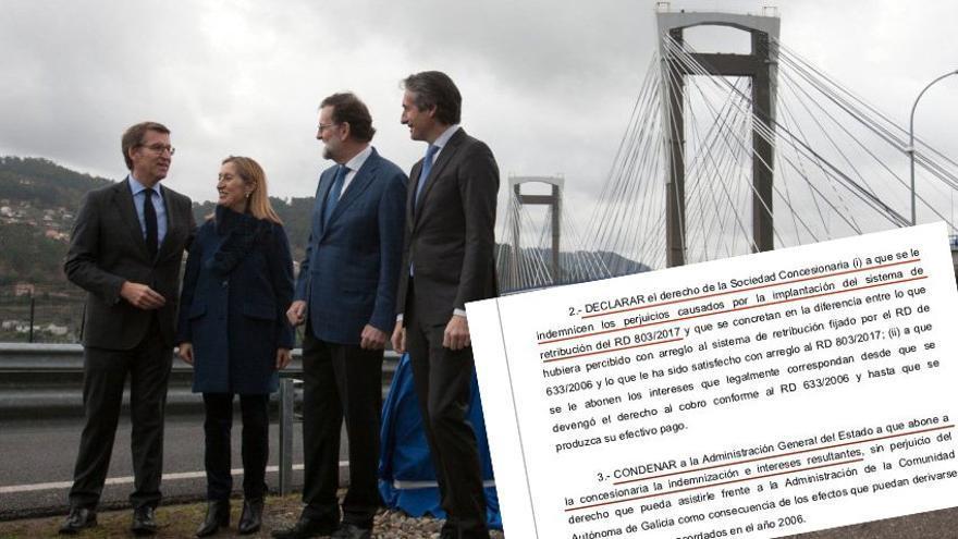 Sentencia del Tribunal Supremo que anula la reducción de la compensación a Audasa por los peajes de Rande, en la imagen, y A Barcala decidida en 2017 por Fomento