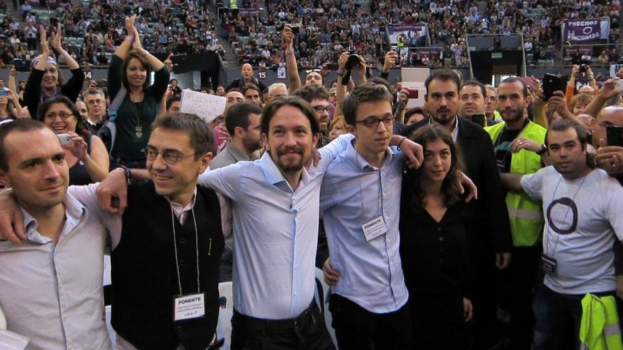 El equipo promotor de Podemos, durante el acto de Vistalegre.