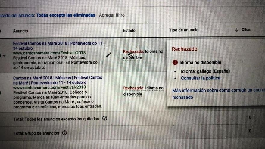Mensaje recibido por la organización del festival tras intentar promocionar el evento en gallego