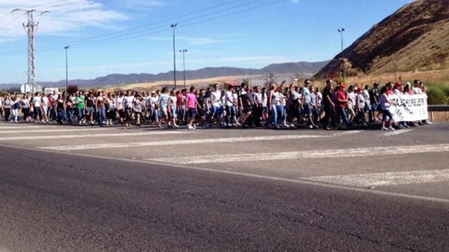 Marcha de los trabajadores de Solaria en Puertollano