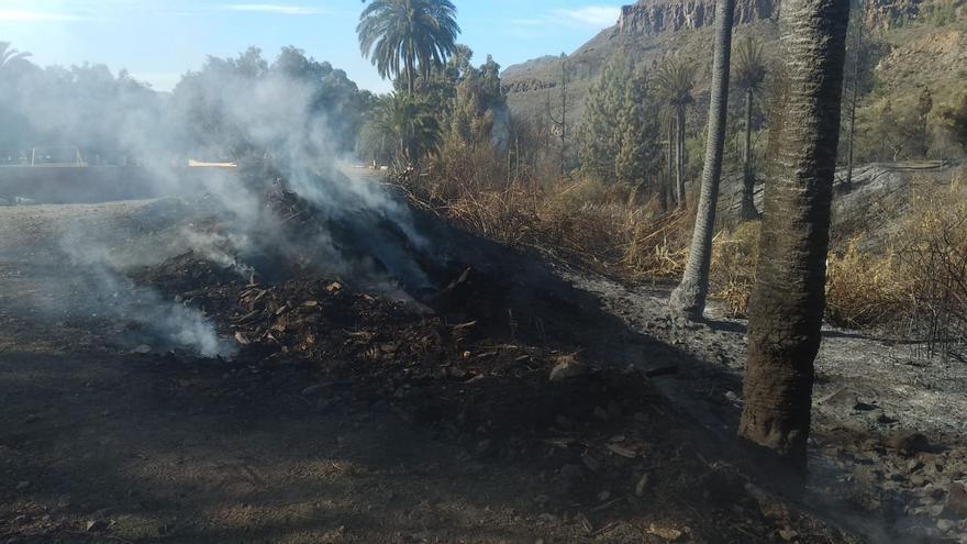 Labores de extinción del incendio en Fataga