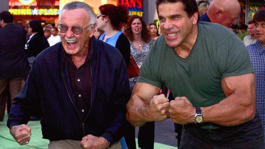 Stan Lee, creador del increíble Hulk, y el actor que encarnó al increíble Hulk