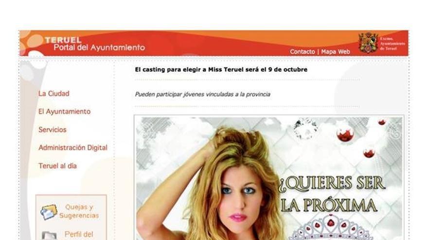 Captura de pantalla de la web del Ayuntamiento de Teruel.