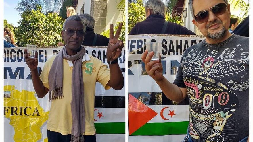 Los amigos del pueblo saharaui han pedido a la gente fotografías con un vaso de agua.
