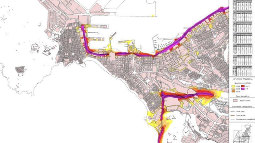Imagen del Mapa Estratégico de Ruidos de Las Palmas de Gran Canaria.