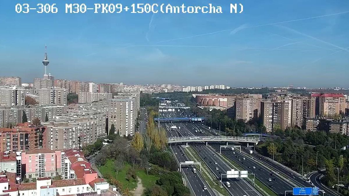 La capa de polución vista desde la M-30 | AYUNTAMIENTO DE MADRID