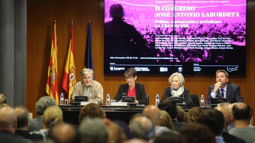 Pedro Santisteve (alcalde de Zaragoza), Violeta Barba (presidenta de las Cortes de Aragón), Juana de Grandes (presidenta de la Fundación José Antonio Labordeta) y José Luis Soro (presidente de CHA)