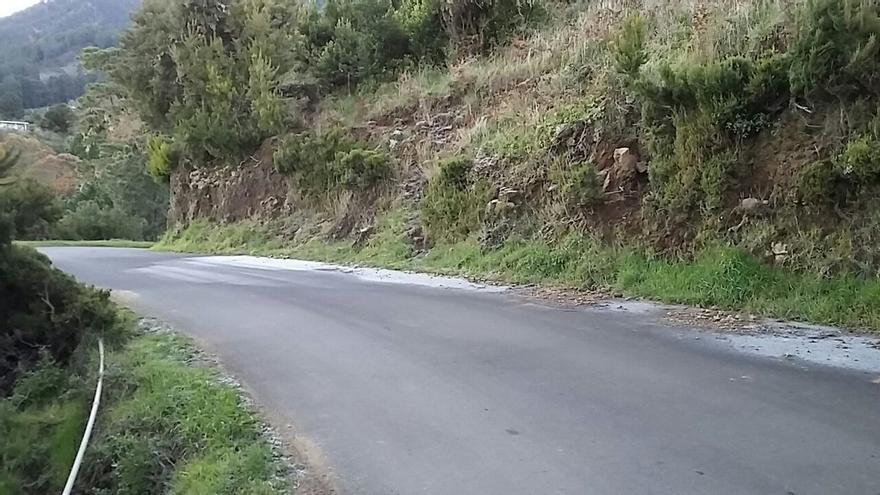Rocío congelado (escarcha) ese miércoles en una carretera de Garafía.