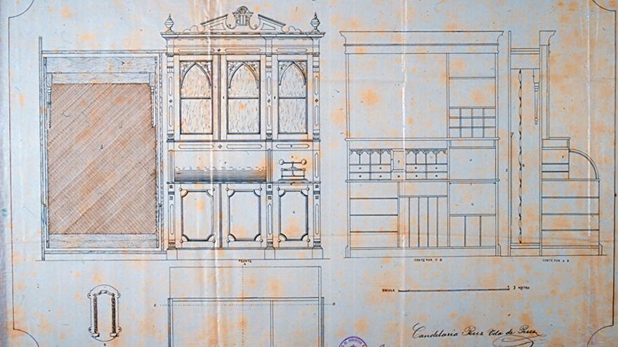 Esquema del mueble combinable inventado por la comerciante canaria Candelaria Pérez
