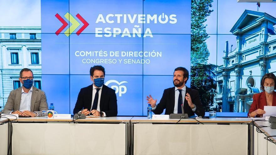 El presidente del PP, Pablo Casado, preside la reunión con los comités de dirección del Grupo Popular. Asisten también Teodoro García Egea, Cuca Gamarra y Javier Maroto. En Madrid, a 14 de septiembre de 2020.