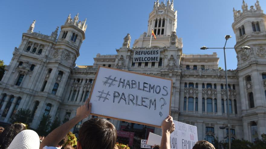 Pancarta frente al Ayuntamiento de Madrid.