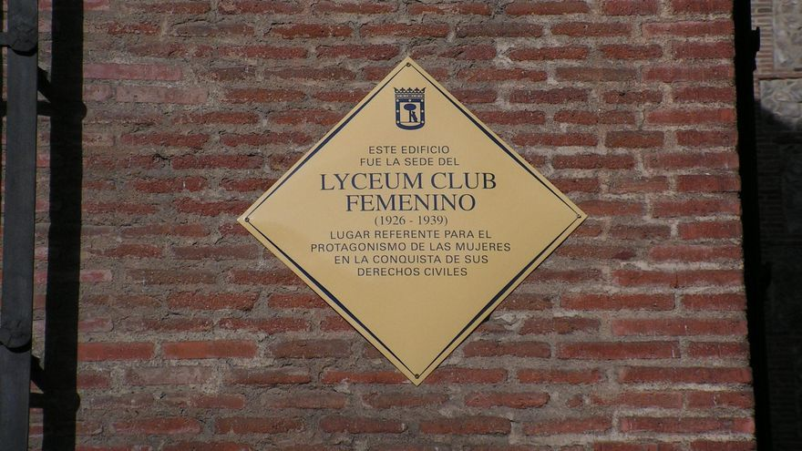 La placa del Lyceum Club, colocada por el gobierno de Carmena el 8 de marzo de 2017